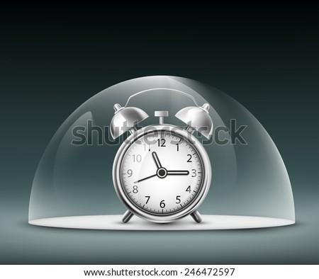 alarm clock under a glass dome - stock vector