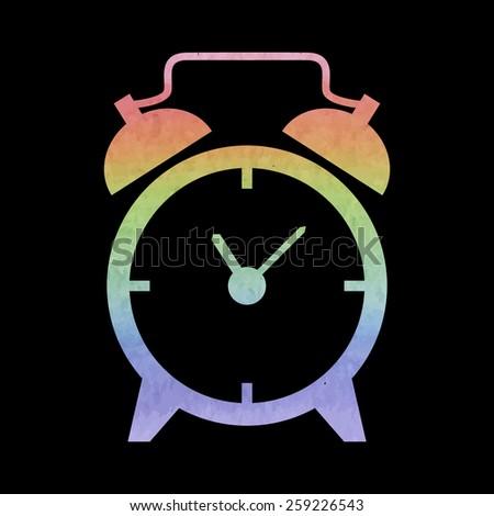 Alarm clock. Watercolor effect - stock vector