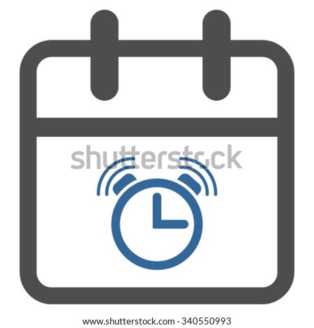 Alarm Day vector icon. Style is bicolor flat symbol, cobalt and gray colors, rounded angles, white background. - stock vector