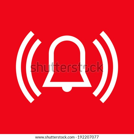 Alarm icon on red background - stock vector