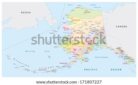 alaska administrative map - stock vector