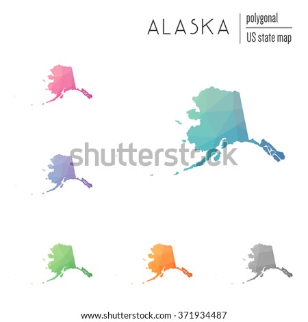 Alaska state map in geometric polygonal style. Set of Alaska state maps filled with abstract mosaic, modern design background. Multicolored state map in low poly style - stock vector