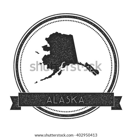 Alaska vector map stamp. Retro distressed insignia with US state map. Hipster round rubber stamp with Alaska state text banner, USA state map vector illustration. - stock vector