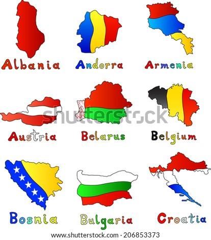 Albania, Andorra, Armenia, Austria, Belarus, Belgium, Bosnia, Bulgaria, Croatia map set - stock vector