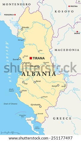 Albania Political Map with capital Tirana, national borders, important cities, rivers and lakes. English labeling and scaling. Illustration. - stock vector