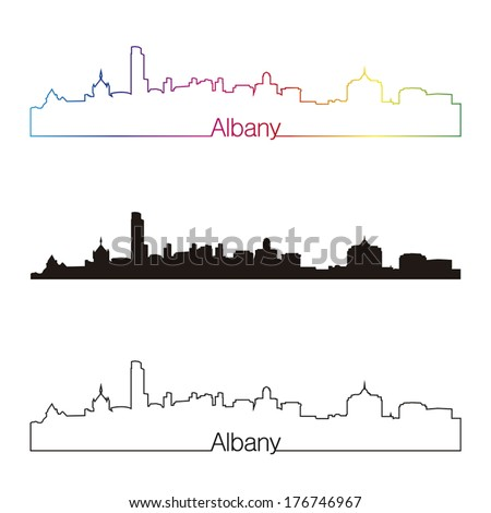 Albany skyline linear style with rainbow in editable vector file - stock vector
