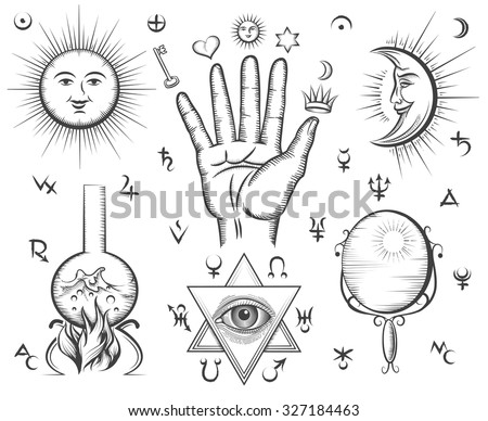 Alchemy, spirituality, occultism, chemistry, magic tattoo vector symbols. Design esoteric and gothic, witchcraft and mystery, medieval potion illustration - stock vector