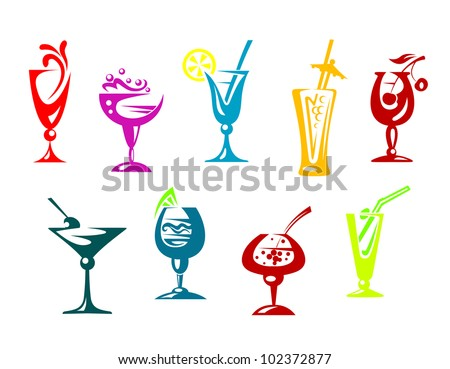 Alcohol and juice cocktails set for beverages design. Jpeg version also available in gallery - stock vector
