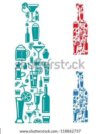 alcohol drinks - stock vector
