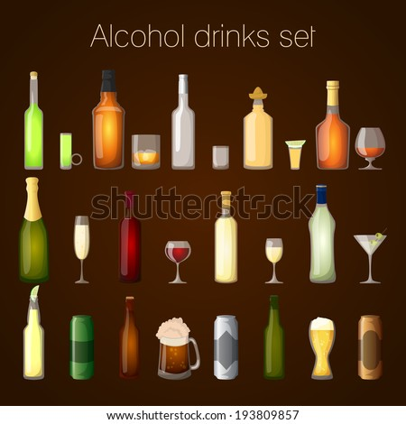 Alcohol drinks bottles and glass set of wine beer champagne martini isolated vector illustration - stock vector