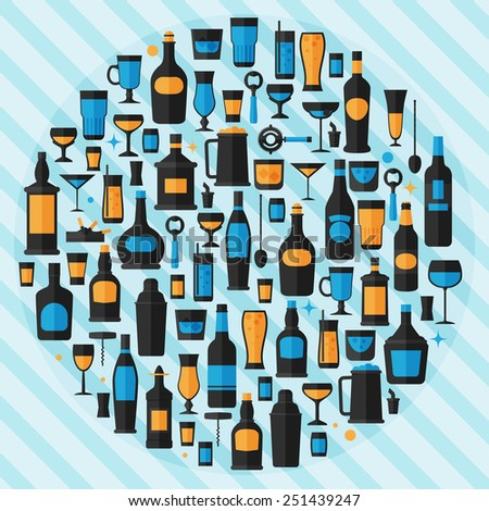 Alcohol drinks icon set flat style,vector eps10 illustration - stock vector