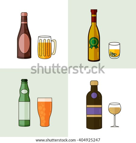 Alcohol Drinks Icon Set in Flat Design Style. Vector illustration. - stock vector
