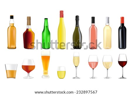 Alcohol drinks in bottles and glasses: whiskey, cognac, brandy, beer, liquor, champagne, wine - stock vector