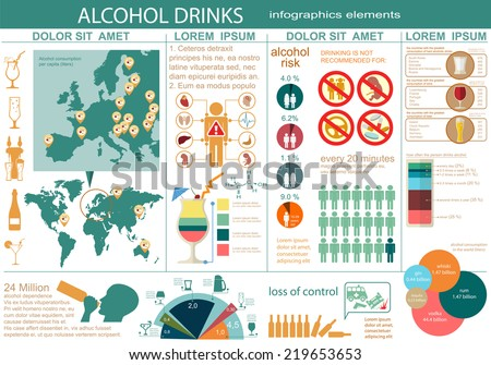 Alcohol drinks infographic. Vector illustration - stock vector