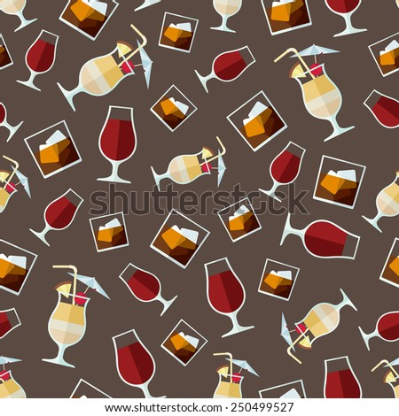 Alcohol drinks pattern. Wine, whiskey and pina colada. - stock vector