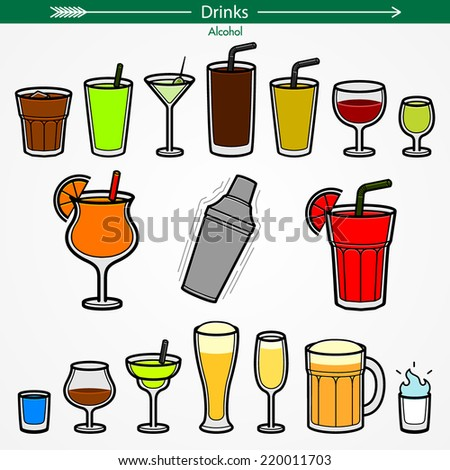 Alcohol Icon Set. Colored Outlines. Pictogram Style - stock vector