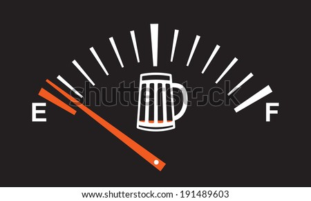 alcohol  meter - beer level is low  - stock vector