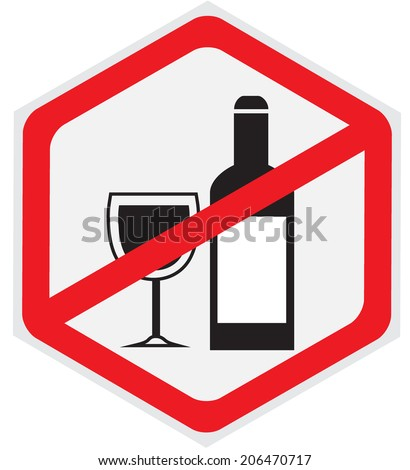 Alcohol, not, allowed, sign - stock vector