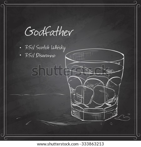 Alcoholic Cocktail Godfather with Scotch whiskey and liqueur Amaretto on black board - stock vector