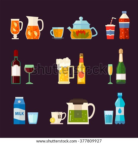 Alcoholic drinks and non alcoholic drinks with bottles and glasses isolated.  Vector set of different beverages: water, milk, beer, lemonade, green tea, black tea, wine, cola, champagne. - stock vector