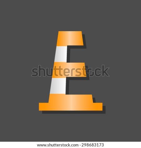 Alert font, letter E - stock vector