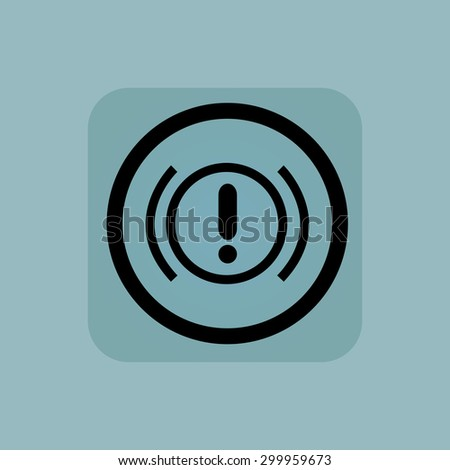 Alert sign in circle, in square, on pale blue background - stock vector