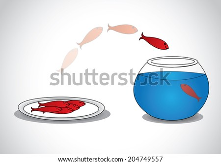 alert young fish escaping from plate of dead fishes to glass bowl. a smart red happy fish jumping from a plate of sad dead fishes to a glass tank with blue water - survival concept illustration art  - stock vector