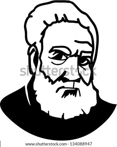 Alexander Graham Bell - American Inventor of telephone - stock vector