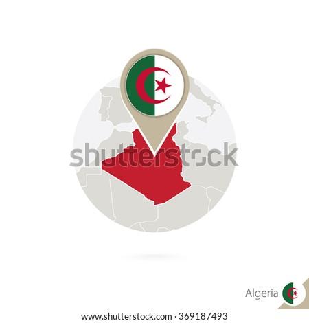 Algeria map and flag in circle. Map of Algeria, Algeria flag pin. Map of Algeria in the style of the globe. Vector Illustration. - stock vector