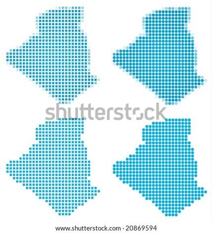 Algeria map mosaic set. Isolated on white background. - stock vector