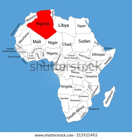 Algeria vector map silhouette isolated on Africa map. Editable vector map of Africa. - stock vector