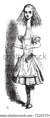 Alice in Wonderland. Alice is growing tall illustration from the book: Through the Looking Glass, and What Alice Found There - stock vector
