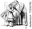 Alice in Wonderland. Alice is looking behind a curtain to reveal a hidden door: Alice's Adventures in Wonderland. Illustration from John Tenniel, published in 1865. - stock vector