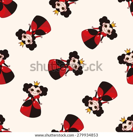alice in wonderland , cartoon seamless pattern background - stock vector
