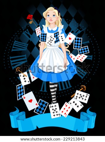 Alice is standing on background of the dial - stock vector
