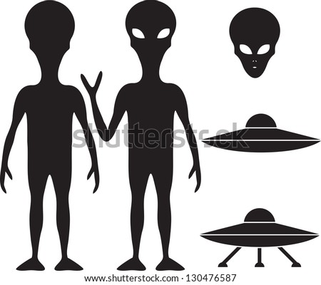 Alien and UFO silhouette set - stock vector