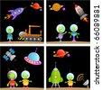 alien cartoon set - stock vector