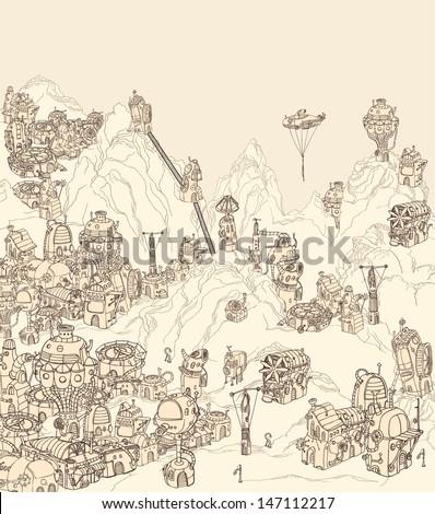 Alien city on planet earth. - stock vector