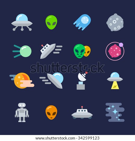 Alien Icons Set. Unidentified Flying Object, Alien, Planet, Robot, Black Hole, Sputnik - stock vector