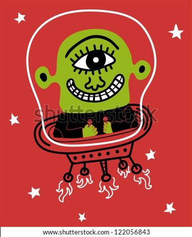 alien in spaceship - stock vector