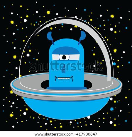 Alien Invasion UFO Spaceship Cartoon Vector In Blue - stock vector