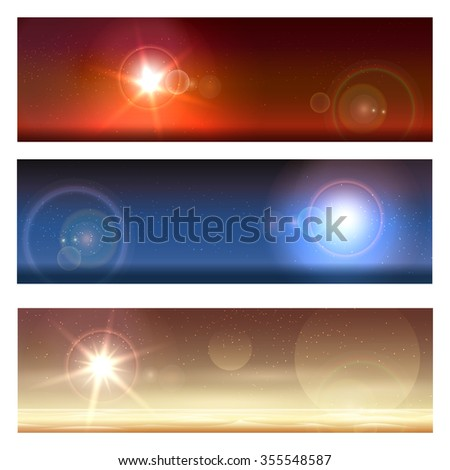 Alien landscapes set. Planet surface and shining stars in the sky - stock vector