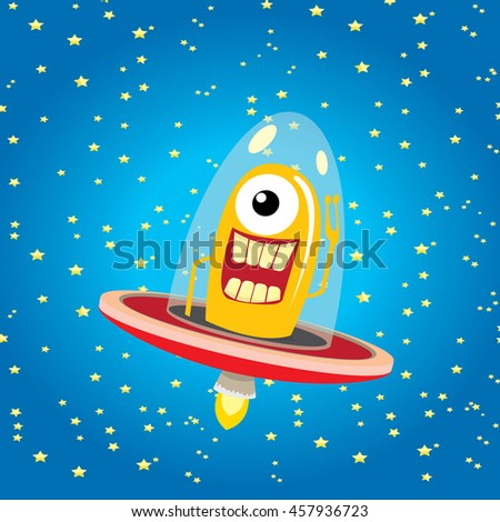 alien spaceship . ufo. orange alien in space vector. flying saucer. Kids vector background - stock vector