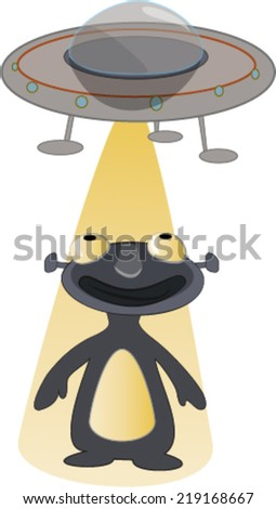 Alien with UFO light on it - stock vector