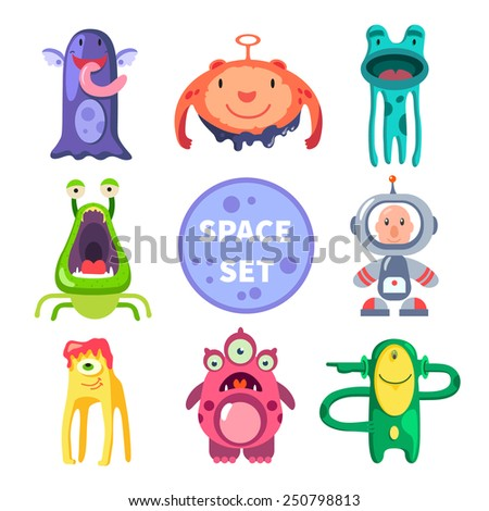 Aliens and astronaut, space world. Vector flat illustrations  - stock vector