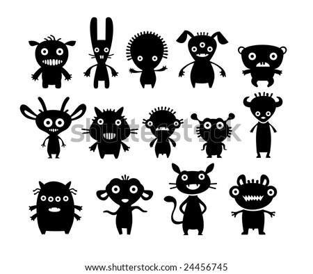 Aliens black on white set - stock vector