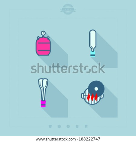 All about food, appliances, objects and other things in relation to Barbecue -  Gas cylinder, Spatula, Barbecue tongs, Grill top.  - stock vector