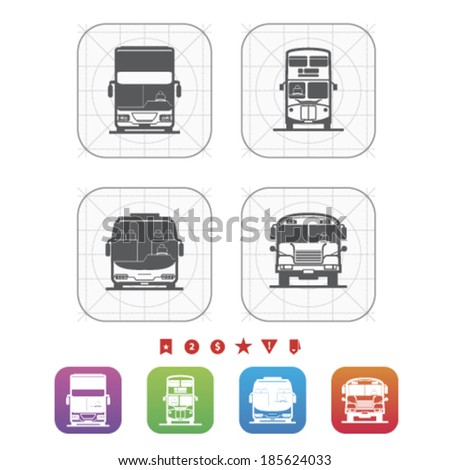 All about food, appliances, objects and other things in relation to Barbecue -  Modern double decker bus, Old fashion double decker bus, Tour bus, School bus. - stock vector