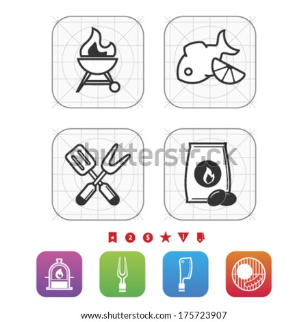All about food, appliances, objects and other things in relation to Barbecue, pictured here from left to right, top to bottom:  BBQ, Grilled fish, Barbecue utensils, Barbecue briquette.  - stock vector