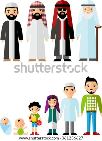 All age group of arab man family. Generations man and woman.  Stages of development people - infancy, childhood, youth, maturity, old age.  - stock vector